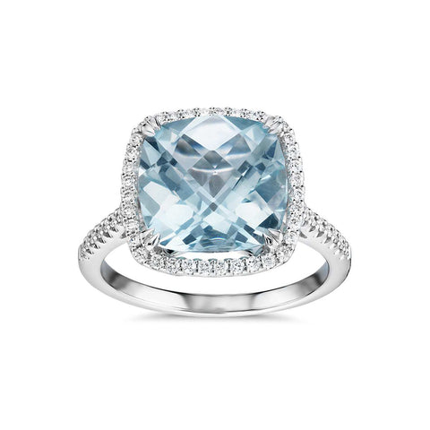 Cushion cut aquamarine and diamonds ring