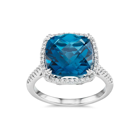 Cushion cut London blue topaz and diamonds ring