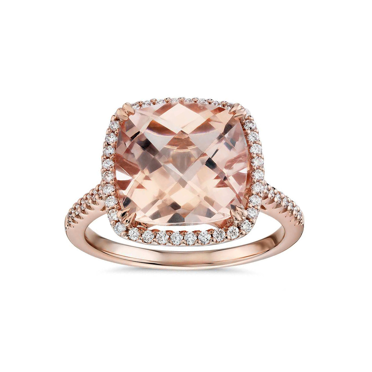 Cushion cut morganite ring with diamonds - 1