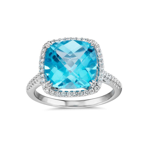 Cushion cut Swiss blue topaz and diamonds ring