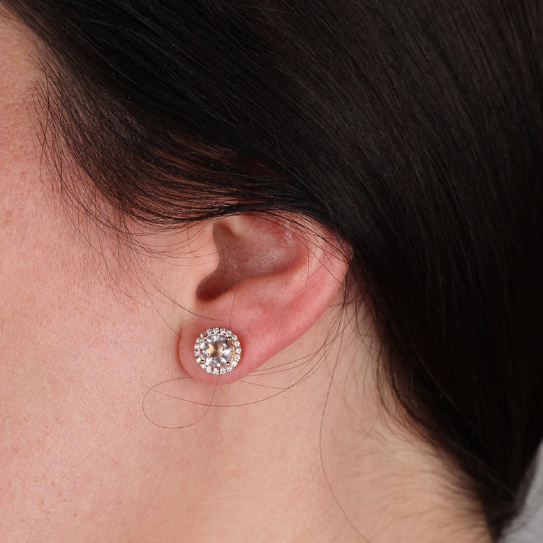 Morganite studs earrings set - 2