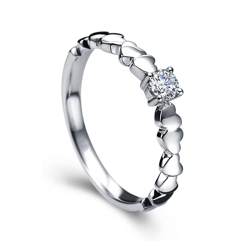 Small diamond ring with tiny hearts - 1
