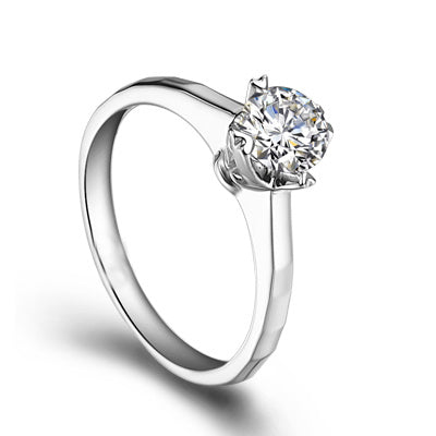 Round cut engagement diamond ring - 1