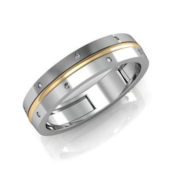 Modern gold wedding band for him - 1