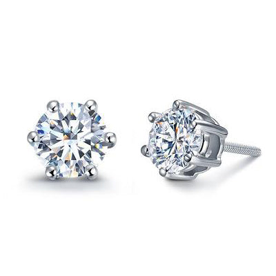 White gold stud diamond earrings - 1