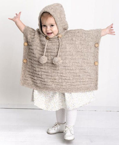 Knitted poncho sweater for baby