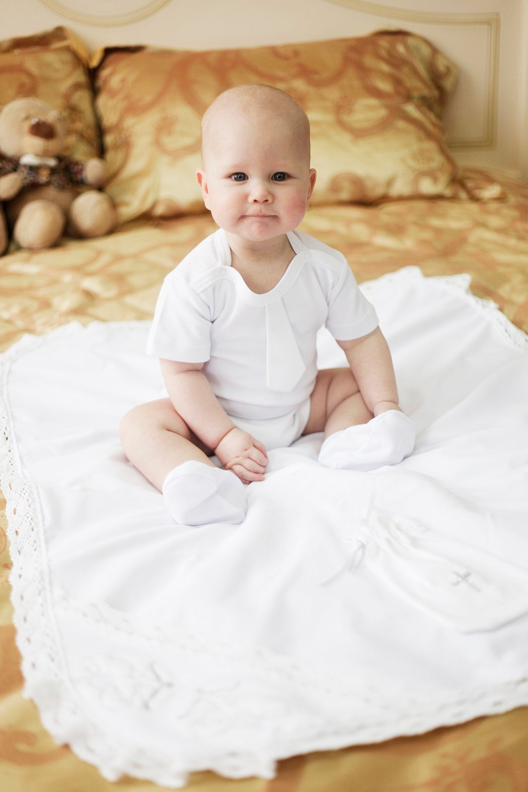 Baby boy white romper baptism set