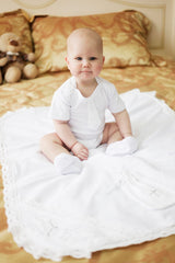 Baby boy white romper baptism set - 5