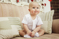 Baby boy white romper baptism set - 3
