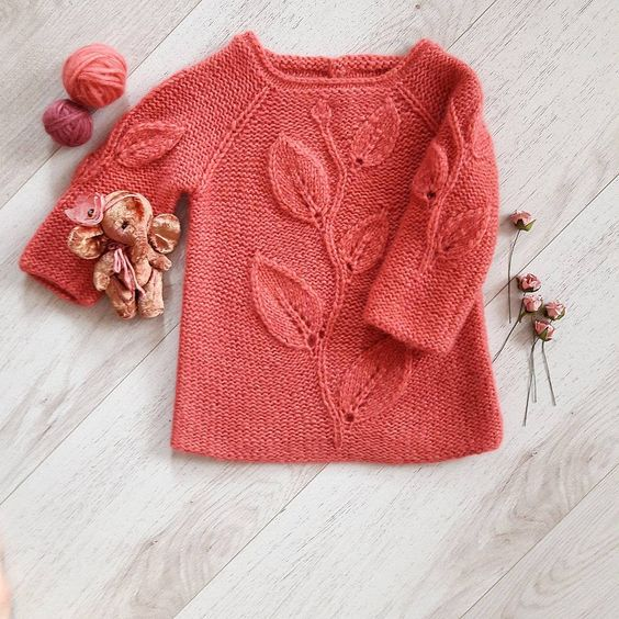 "Knitted sweater for girl ""Gentle Leaves"" - 1"