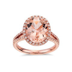 Morganite and diamonds ring - 1