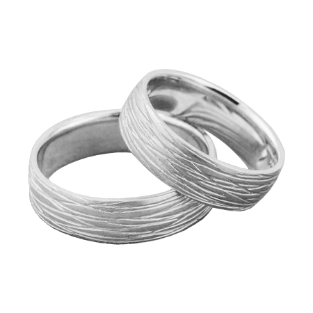 Lined wedding band set - 1