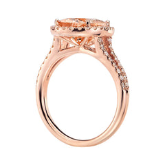 Morganite and diamonds ring - 3