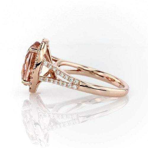 Morganite and diamonds ring - 2