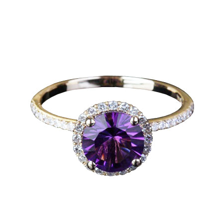 Amethyst and diamond halo engagement ring