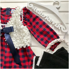 3-Piece Set For Girls With Checkered Dress - Baby Clothes