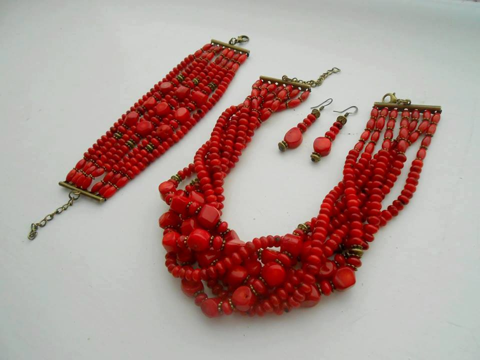 Coral short chunky necklace, earrings and bracelet set - 1