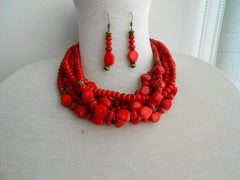 Coral short chunky necklace, earrings and bracelet set - 2
