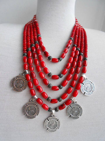 Red coral and coins necklace