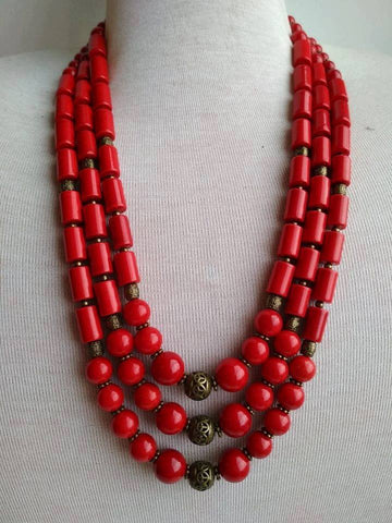 Ethnic red clay beaded necklace