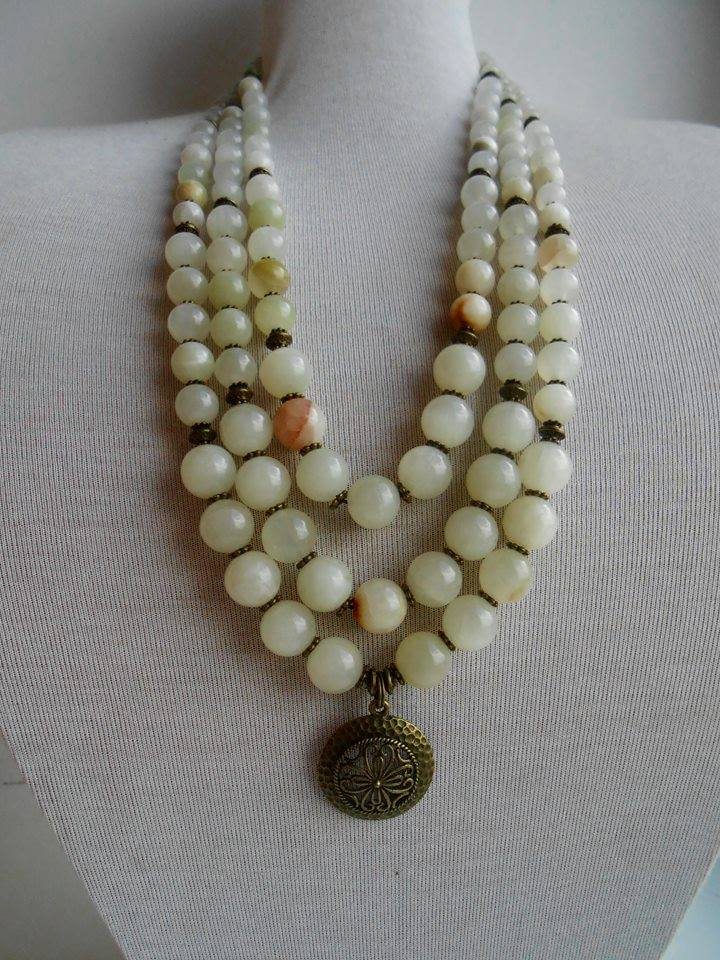 Natural onyx 3 rows necklace - 1