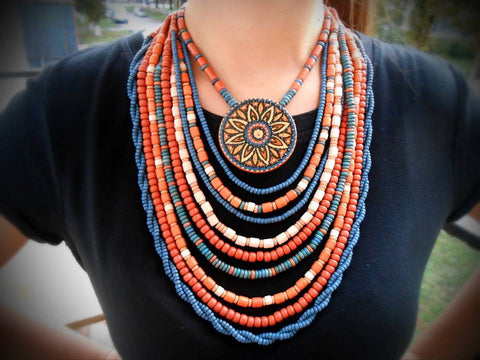 Ethnic natural clay statement necklace