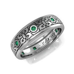 Gold wedding ring with Diamond and Emerald - 1