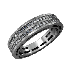 Gold wedding band for men with diamonds - 1