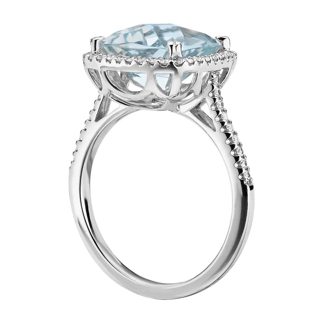 Cushion cut aquamarine and diamonds ring - 2