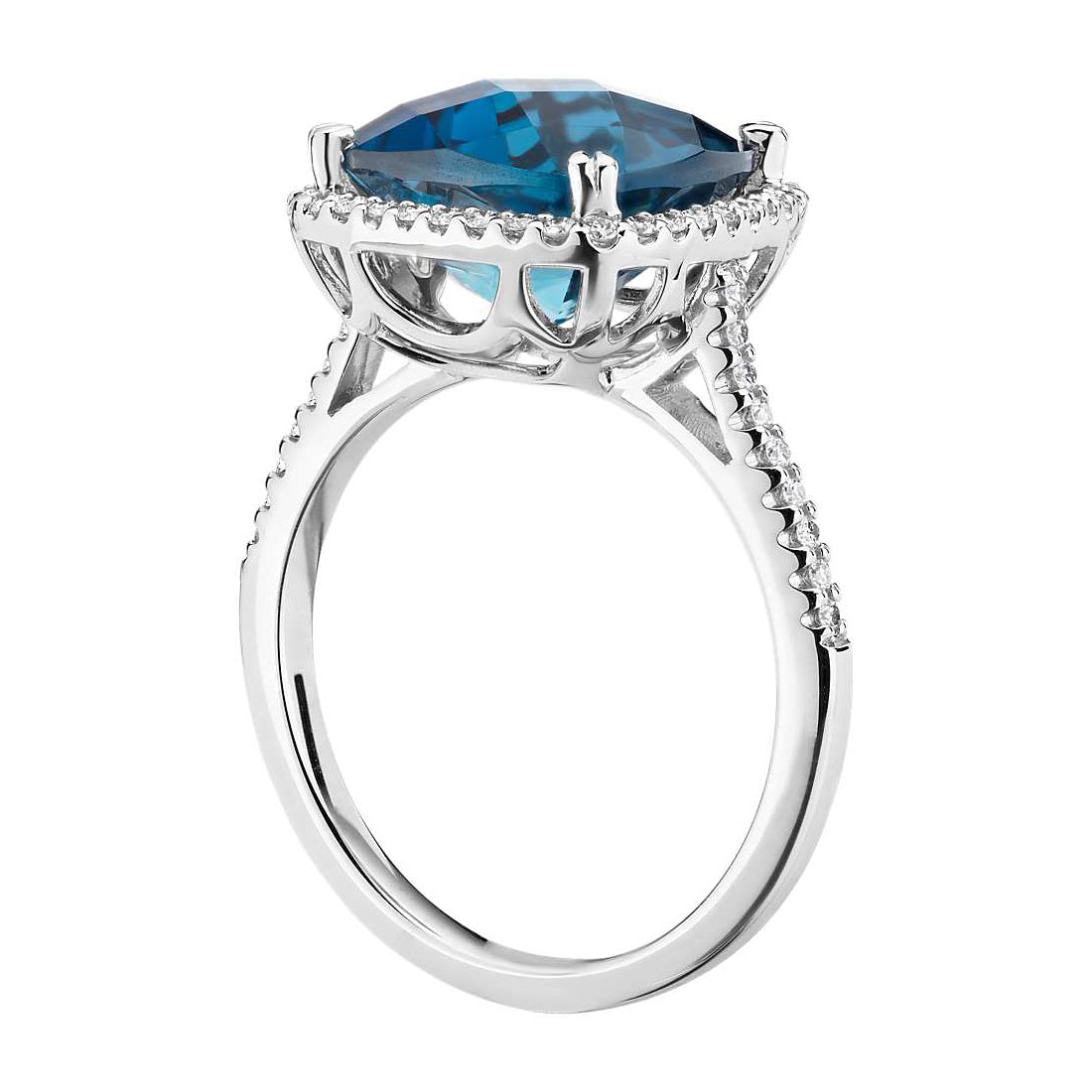 Cushion cut London blue topaz and diamonds ring - 2