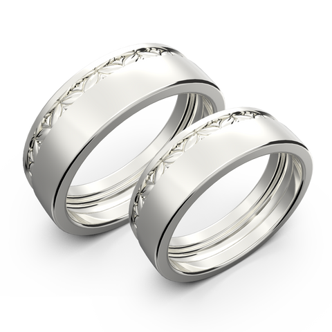 White gold wide wedding band set