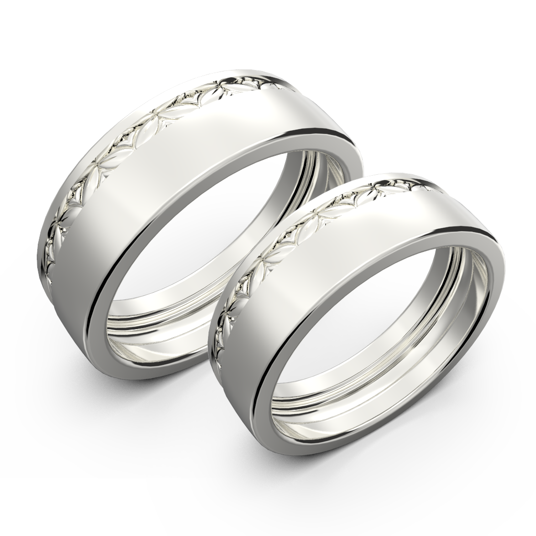 Yellow gold wide wedding band set - 2
