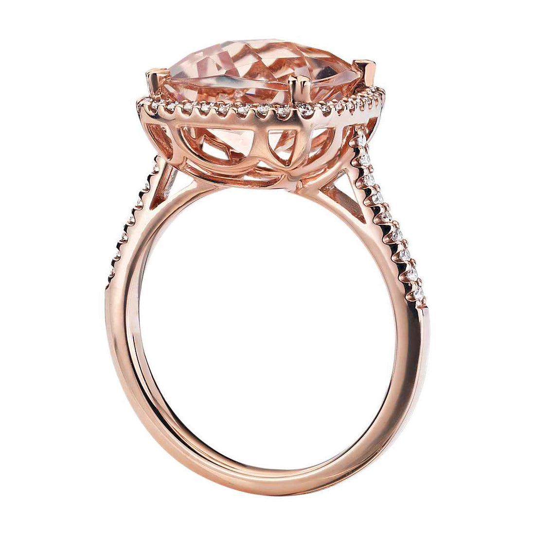 Cushion cut morganite ring with diamonds - 2