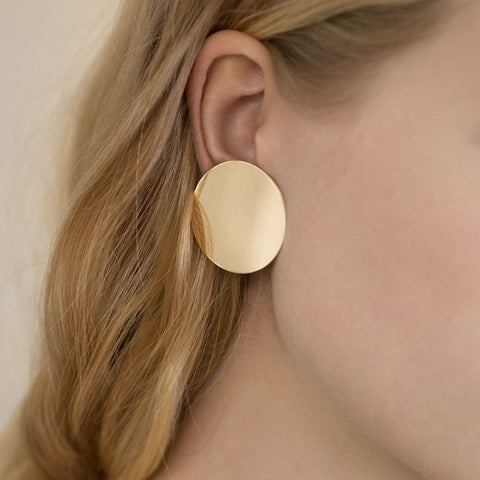 Gold plated chunky circle earrings