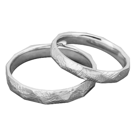 Scratched gold wedding band set
