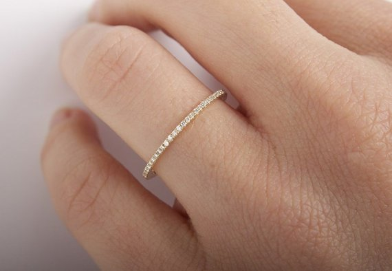 Gold half diamond eternity band 0.18 carat - 3