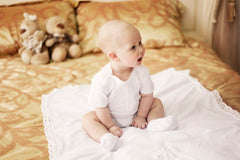 Baby boy white romper baptism set - 7