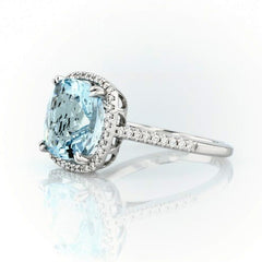 Cushion cut aquamarine and diamonds ring - 3