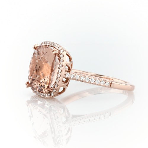 Cushion cut morganite ring with diamonds - 3