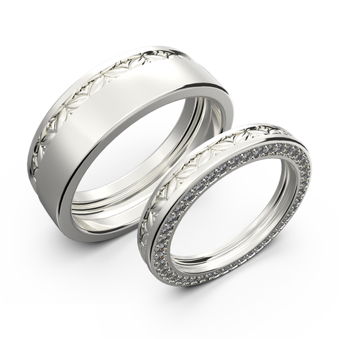 Matching wedding band for him and her set