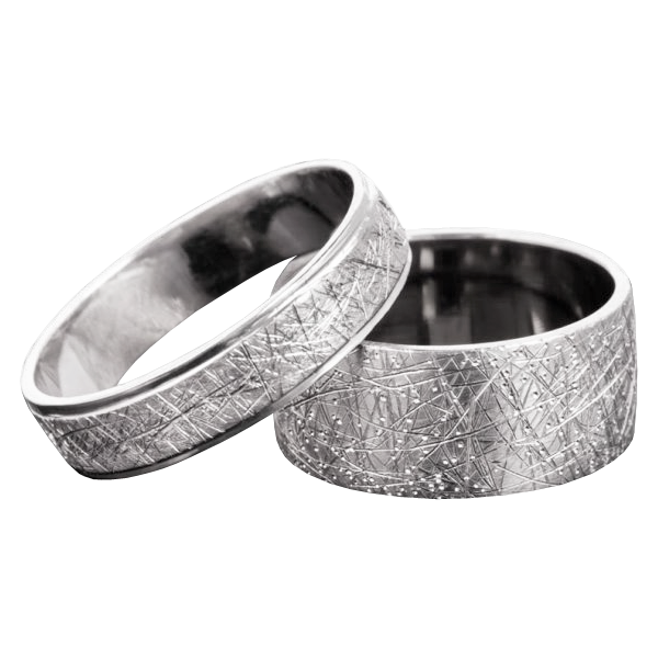 Scratched gold wedding band set - 1