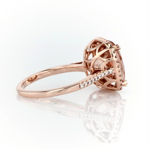 Cushion cut morganite ring with diamonds - 4