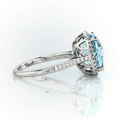Cushion cut aquamarine and diamonds ring - 4