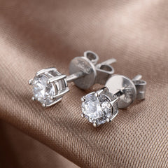 White gold stud diamond earrings - 2