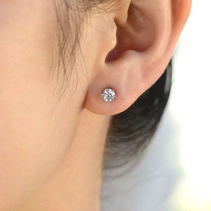 White gold stud diamond earrings - 3