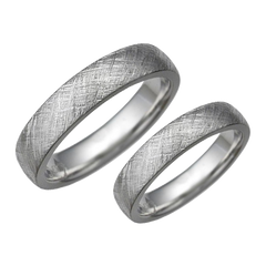 Texture patterned weding rings set - 1