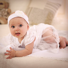 Christening romper dress baby girl set - 2