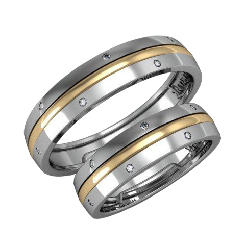 Pair of modern gold wedding bands with diamonds