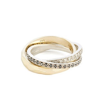 Triple rings with white and black diamonds - 1
