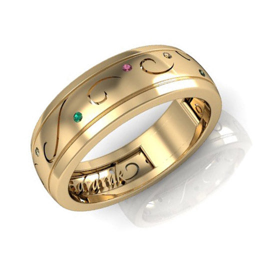 Emerald and Sapphire wedding band for him - 1